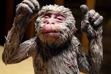 hitotsuyama newspaper animal sculptures monkey