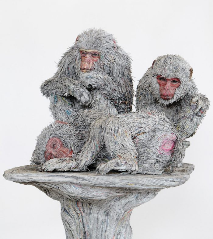 hitotsuyama newspaper animal sculptures monkeys
