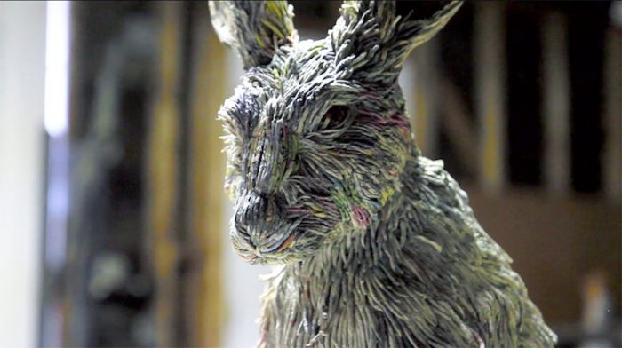 hitotsuyama newspaper animal sculptures rabbit