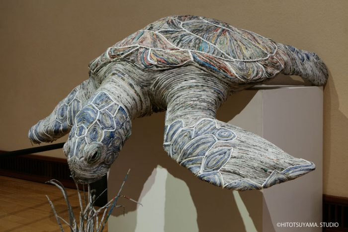 hitotsuyama newspaper animal sculptures sea turtle