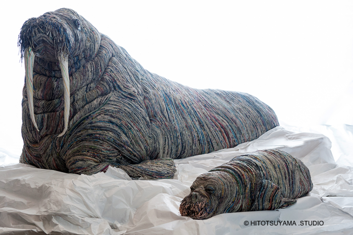 hitotsuyama newspaper animal sculptures walrus