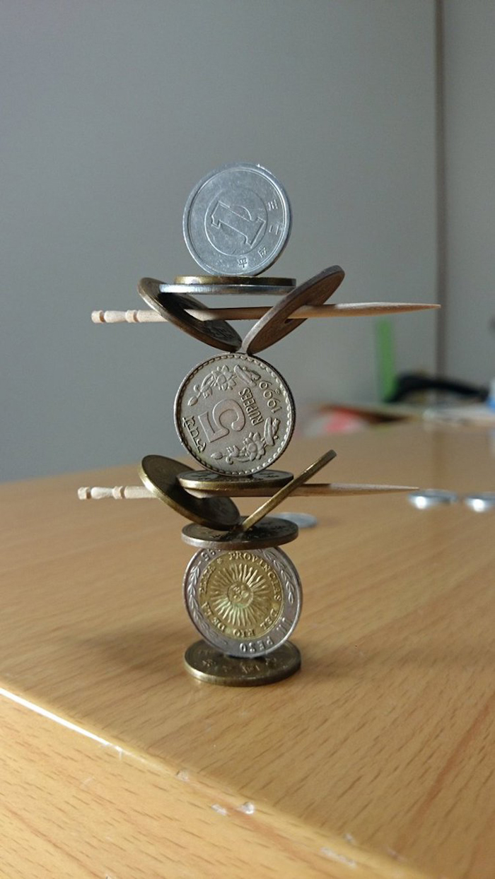 japanese coin stacking sculptures toothpicks