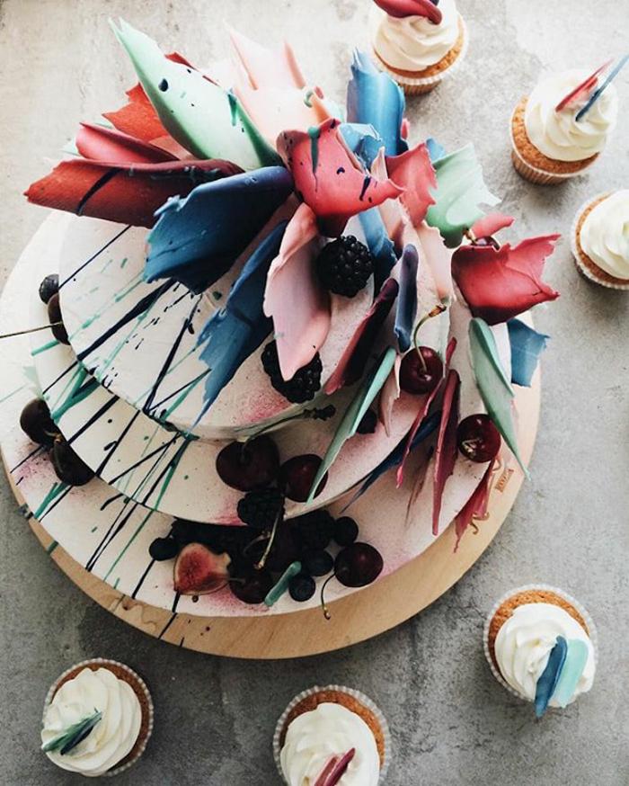 kalabasa brushstroke cakes chocolate splatters
