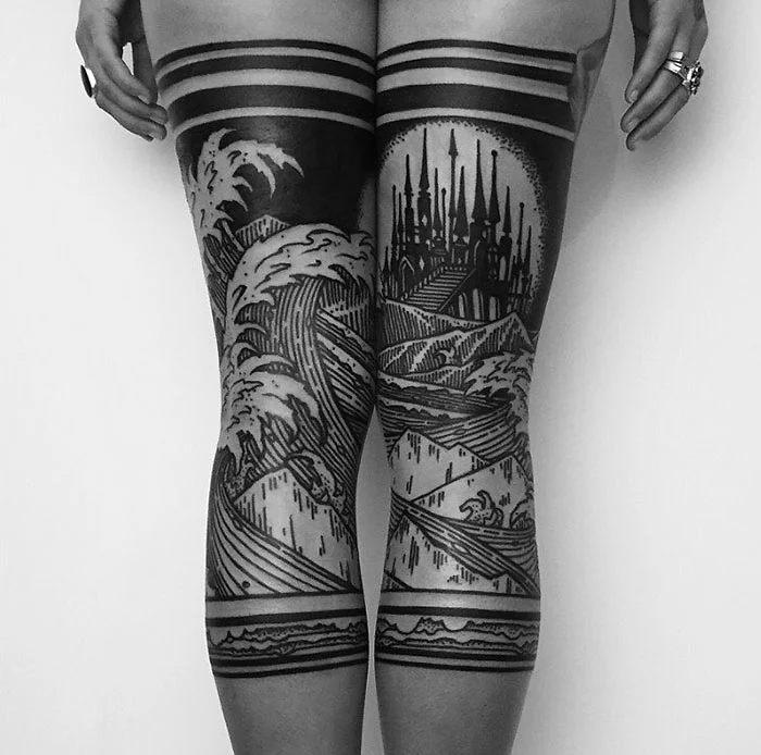 leg tattoo opaque tights