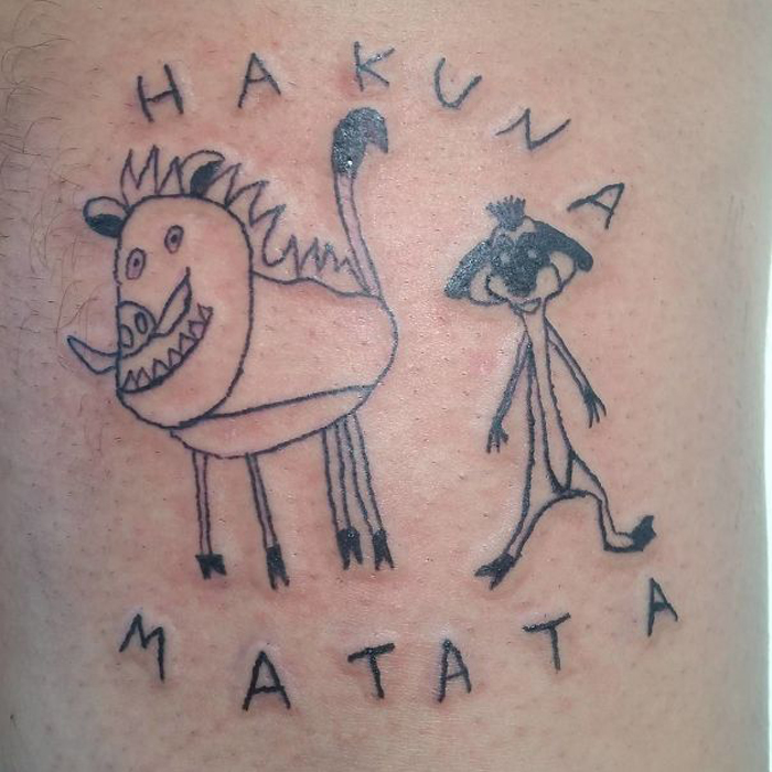 malfeitona hideous tattoos hakuna matata