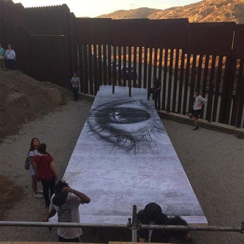 mexico border art installation picnic table