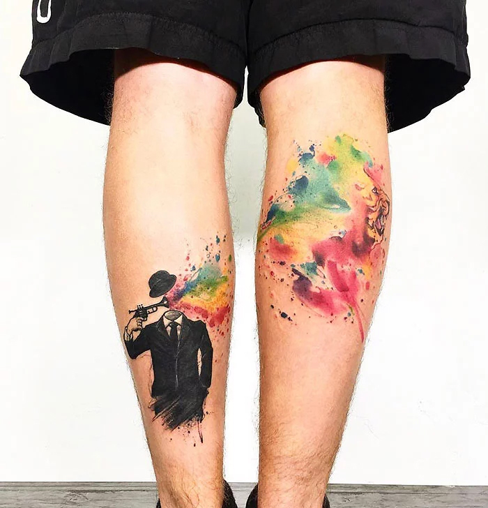 mind-blowing leg tattoo sebastian quick