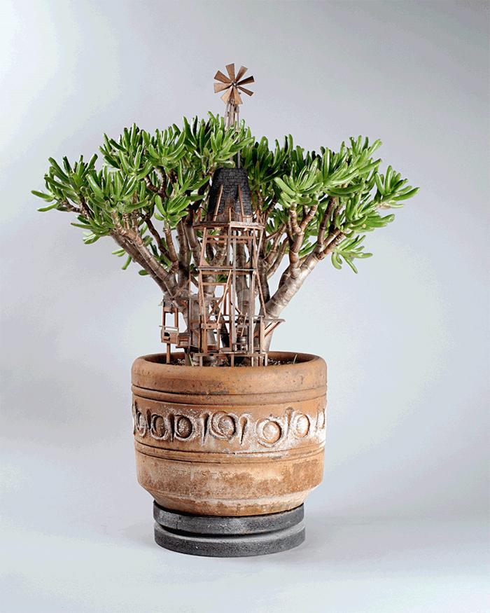 miniature tree houses wind mill