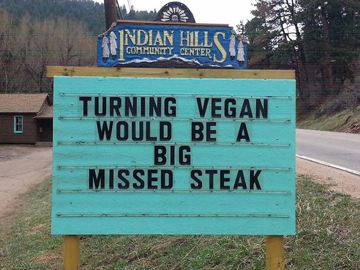 missed steak vegan joke pun