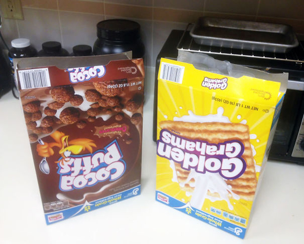 monster roommate upside down cereal boxes