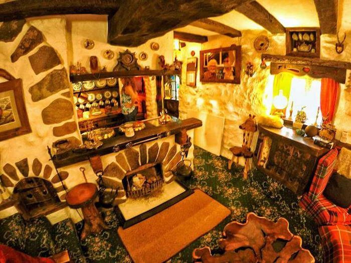 real-life hobbit house interior fireplace