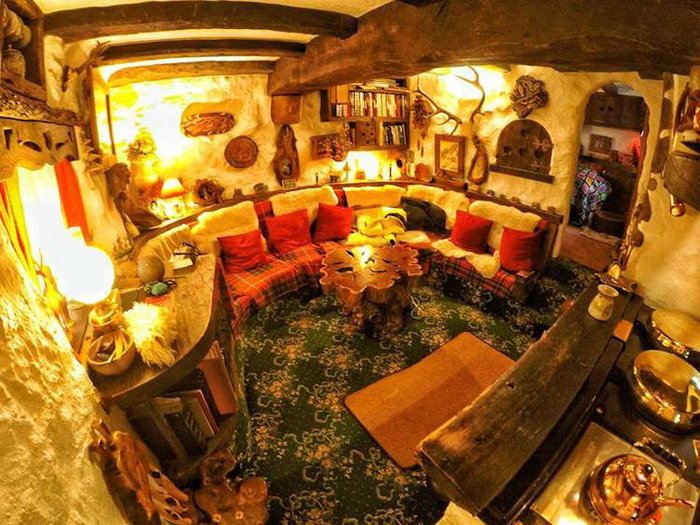 real-life hobbit house interior living room