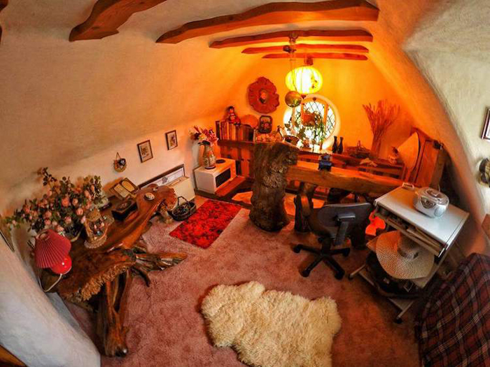 real-life hobbit house study room