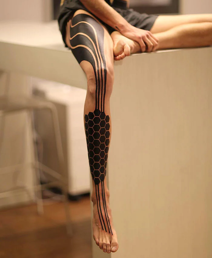robotic leg tattoo
