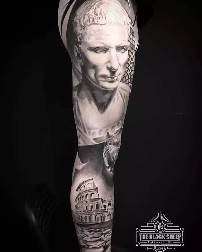 roman-inspired leg tattoo sebastian quick