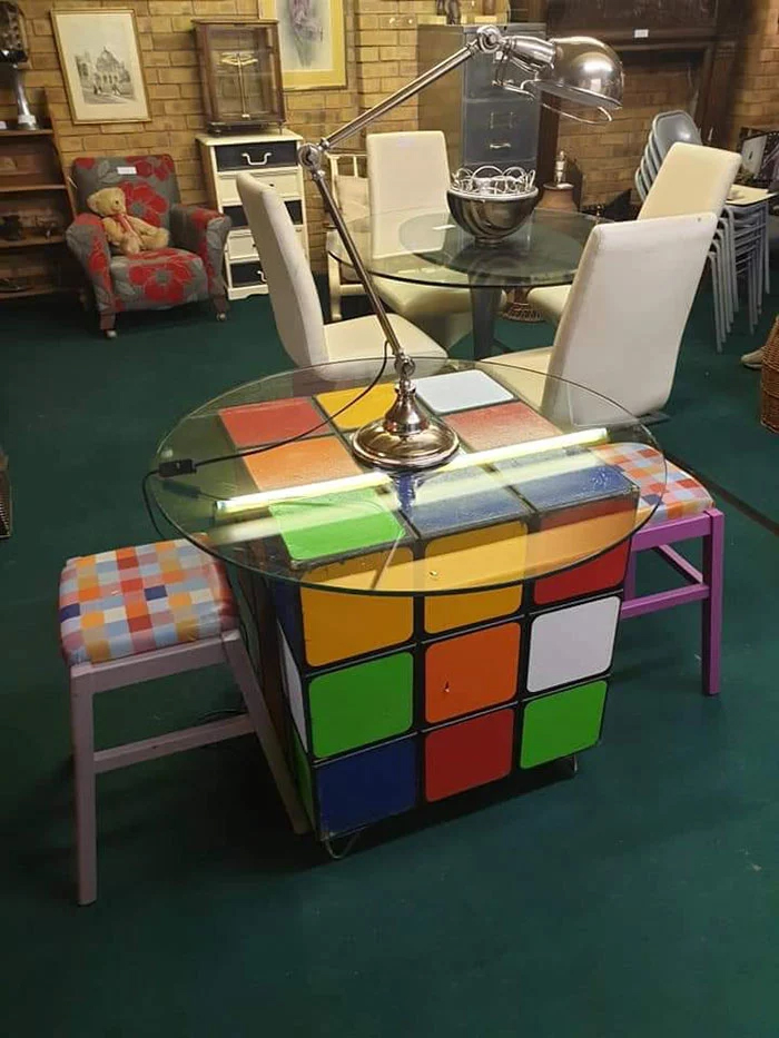 rubiks cube table weird second-hand items