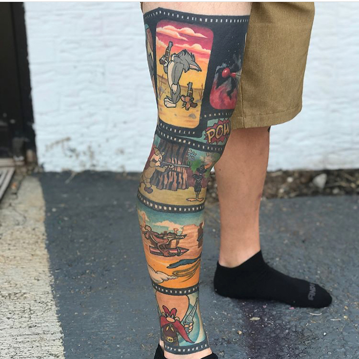 epic leg tattoos cartoons