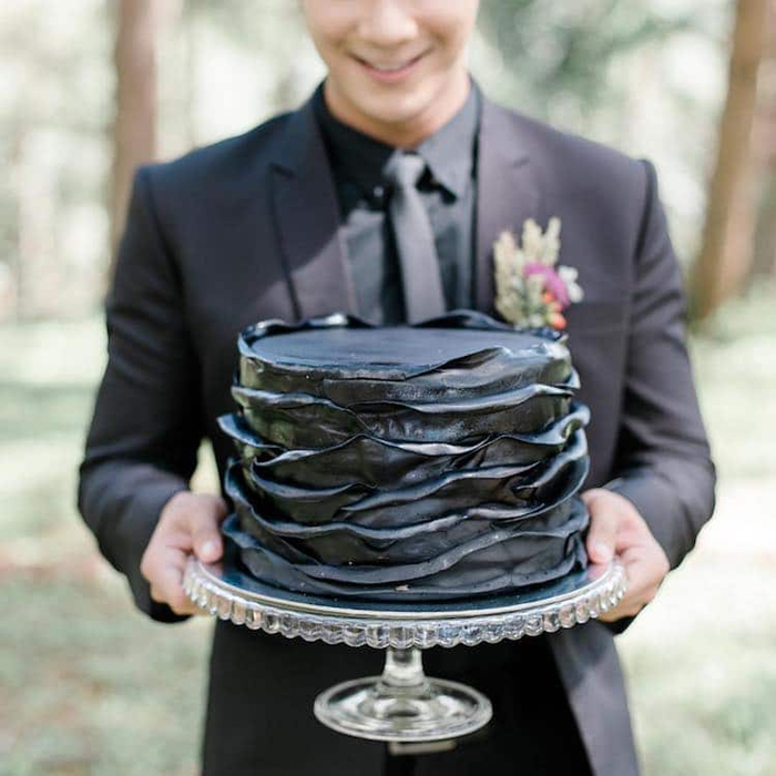 single layer black wedding cake