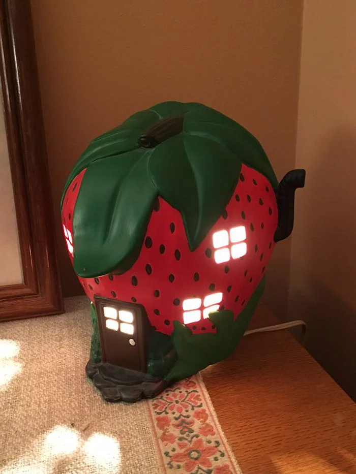 strawberry house lamp weird second-hand items