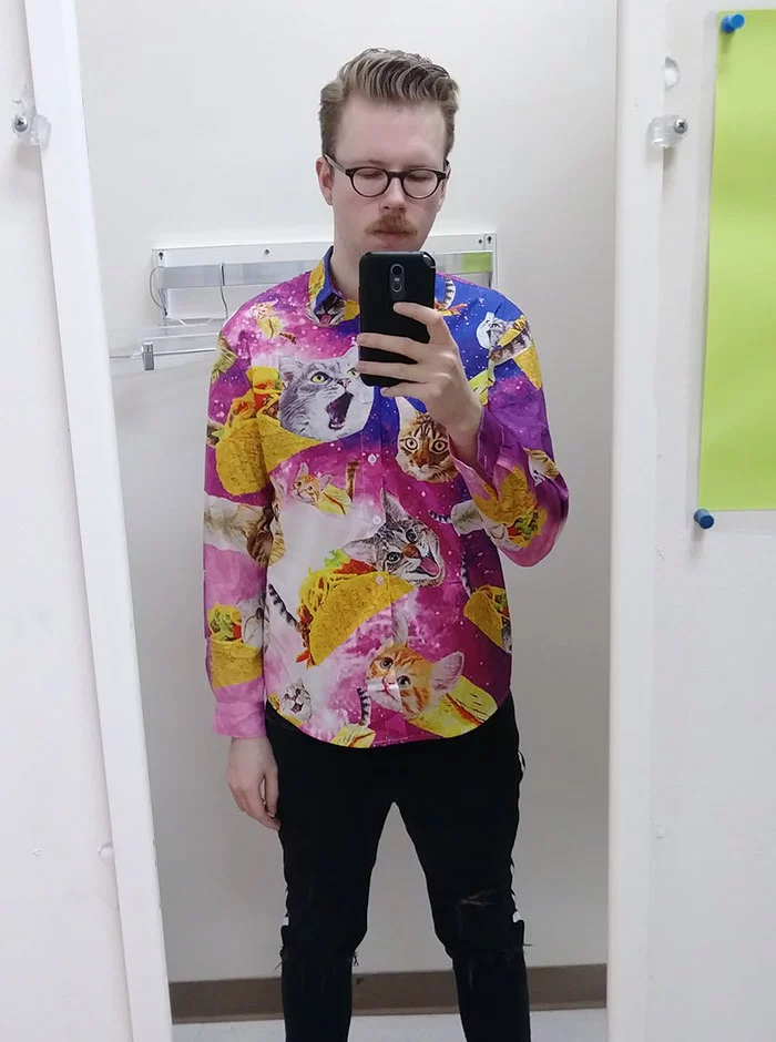 taco cat shirt weird thrift store