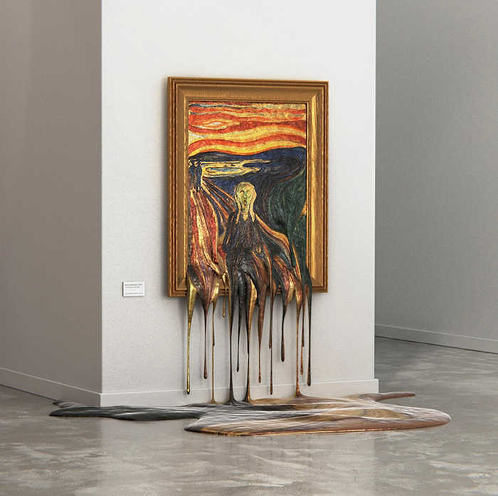 the scream melting painting hot exhibition