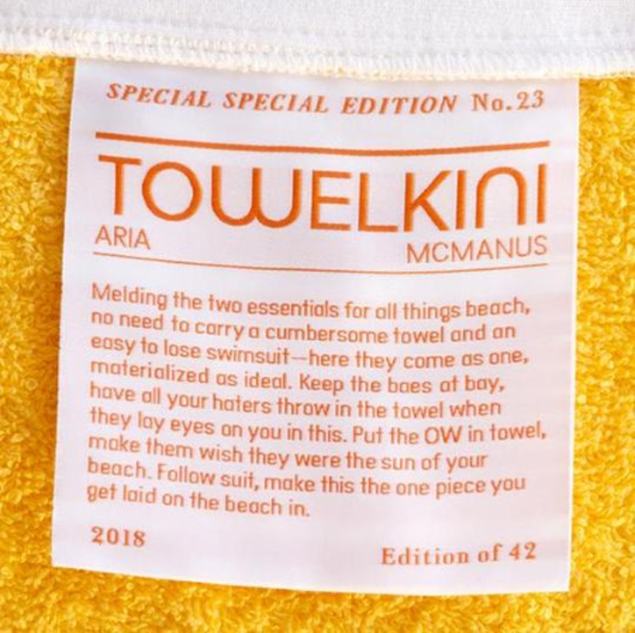 towelkini beach towel outfit label