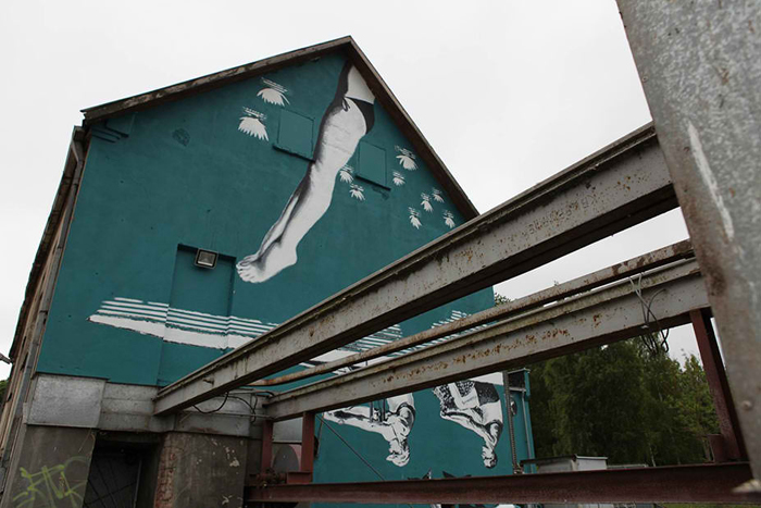 upside down mural lithuania