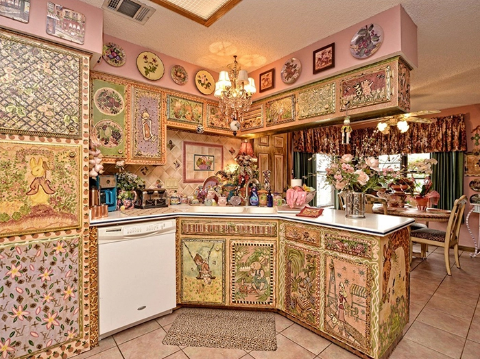 weird ranch style house kitchen decoupage