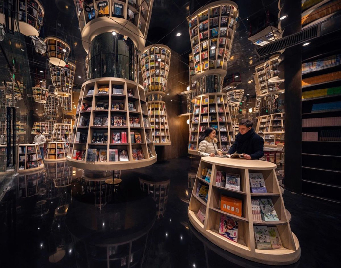 zhongshuge bookstore floating bookshelves