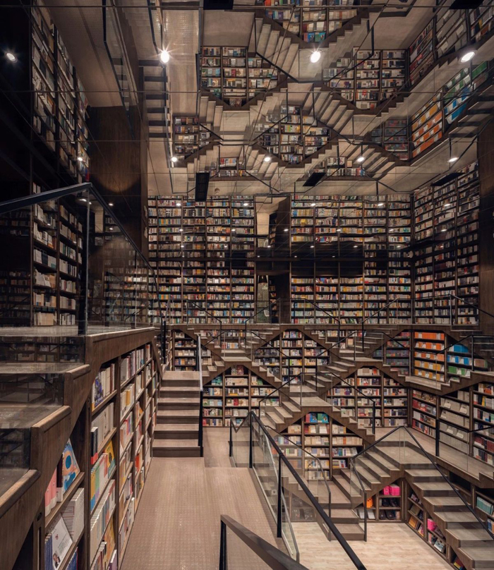 zhongshuge bookstore interconnected staircases
