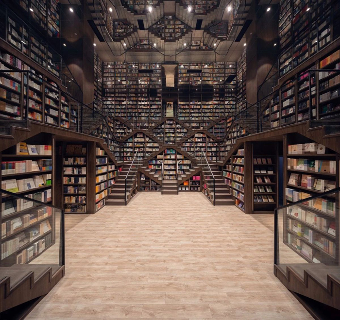 zhongshuge bookstore staircases optical illusion