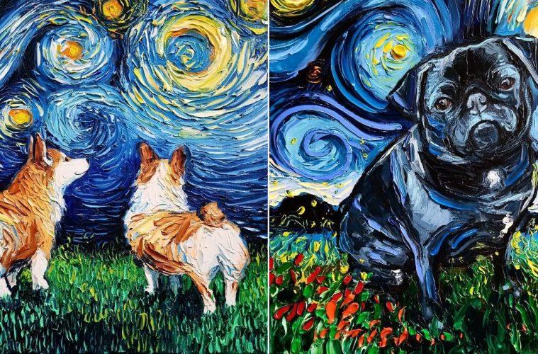 Aja Trier Starry Night Dog Series