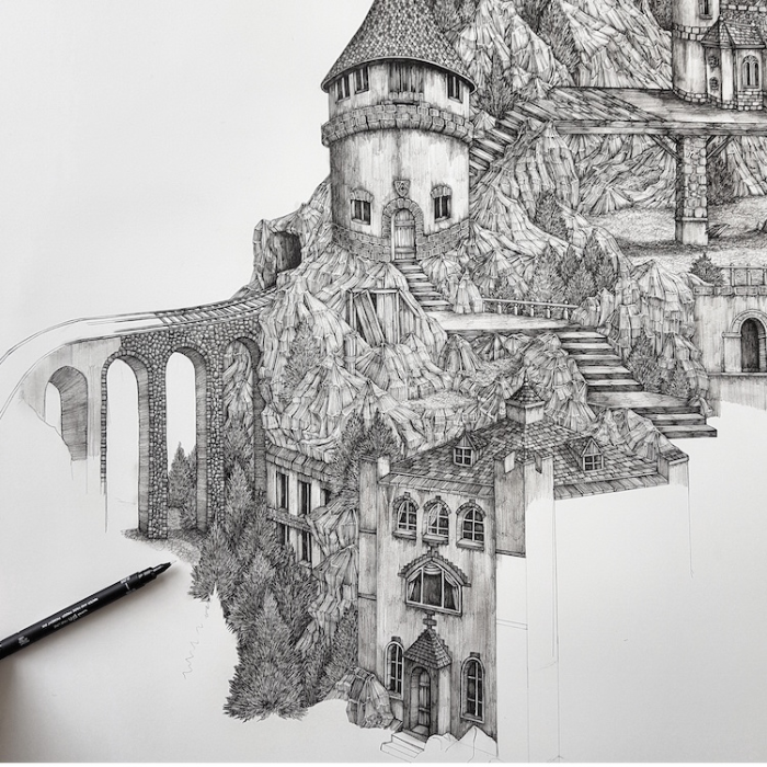 Ascending The High Pass detailed pen drawing by Olivia Kemp
