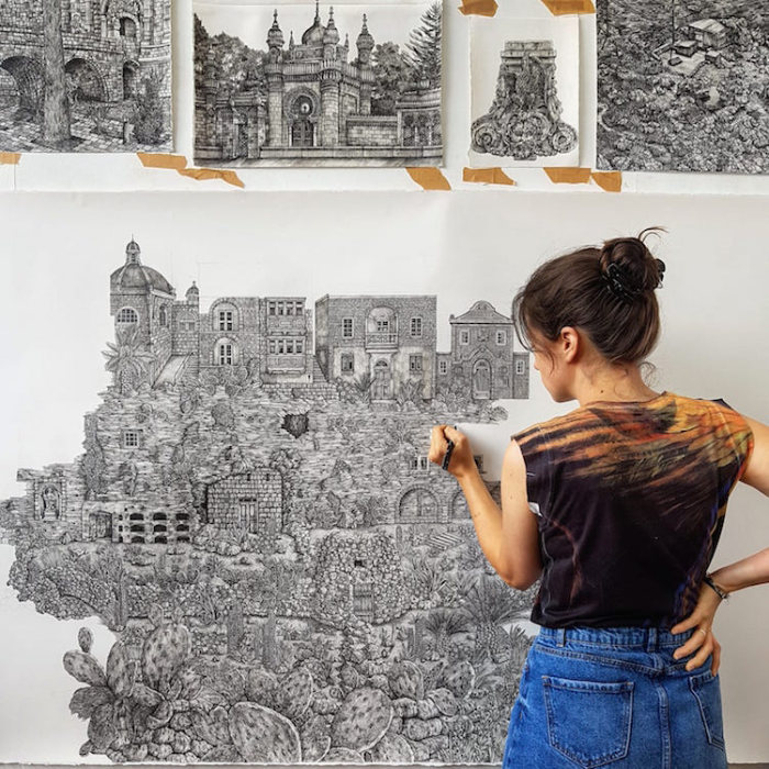 Olivia Kemp creates detailed pen drawings