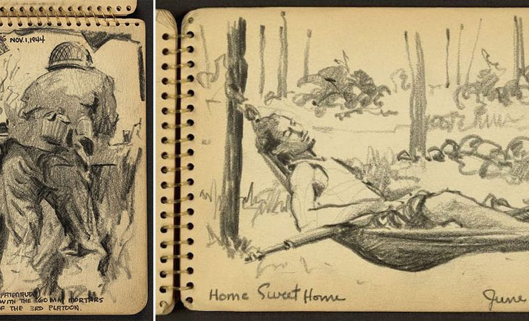 Victor Lundy WWII sketchbook