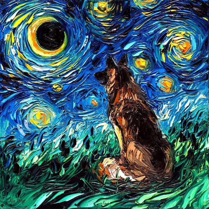aja trier starry night dog series moon