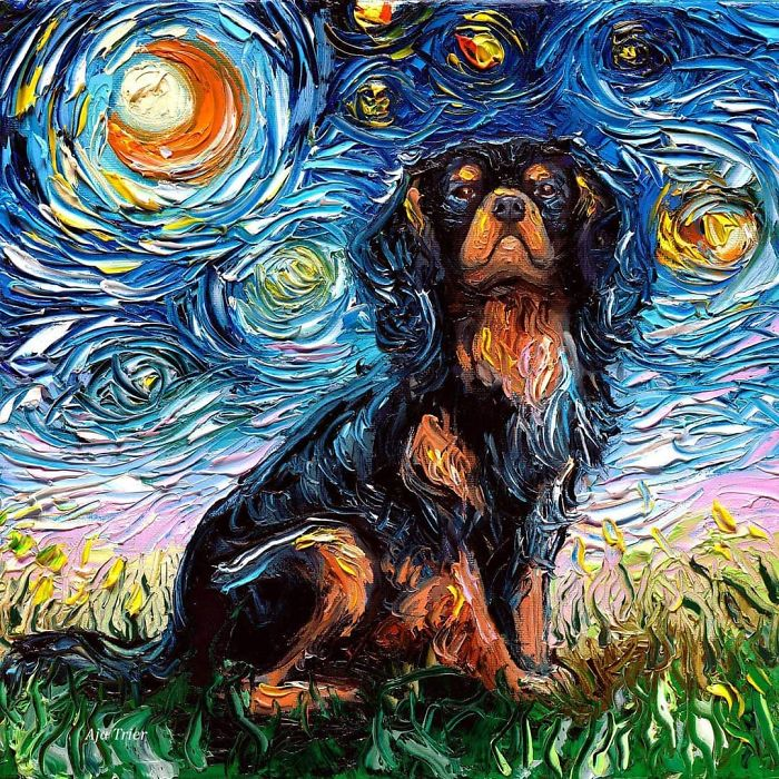 aja trier starry night dog series thick swirls