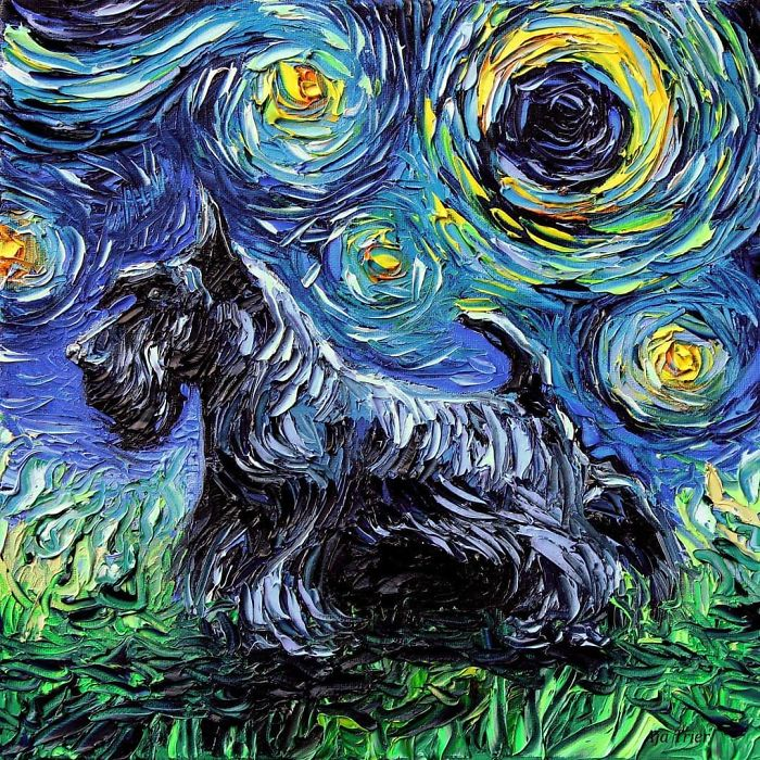 aja trier starry night dog series van gogh never