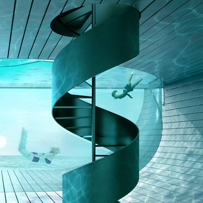 antireality blue house poolhouse circular staircase