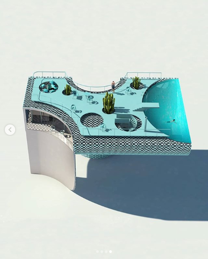antireality blue house poolhouse layout