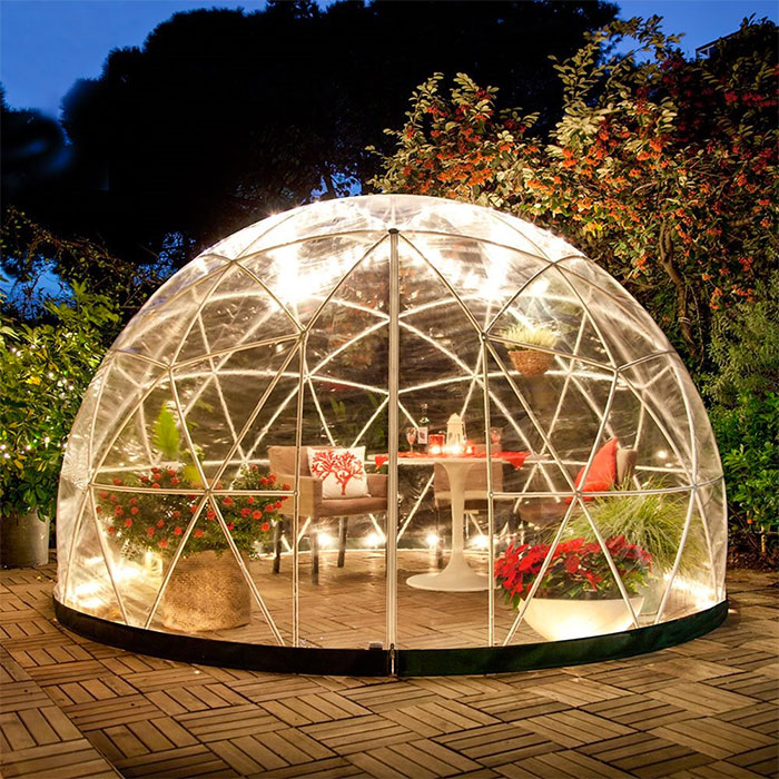 at night clear greenhouse dome garden igloo