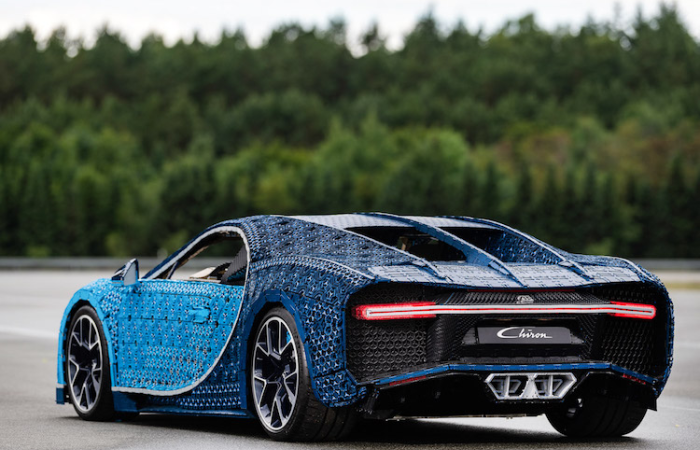 back and side view of Bugatti Chiron LEGO car