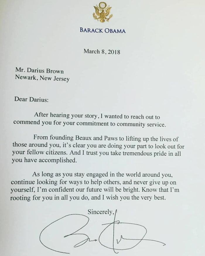 barack obama letter to darius brown