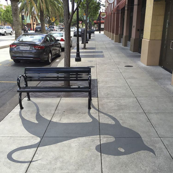 bench shadow art damon belanger