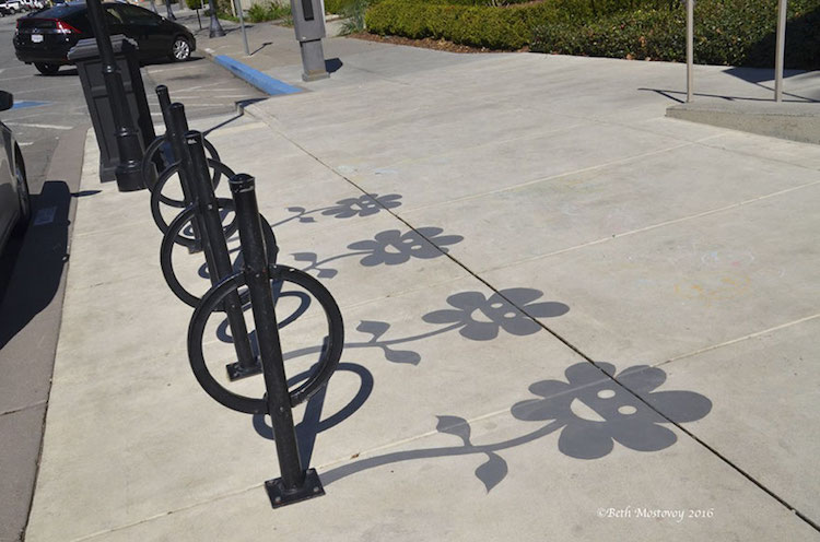 bicycle racks shadow art damon belanger