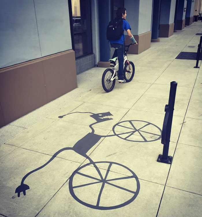 bike shadow art damon belanger