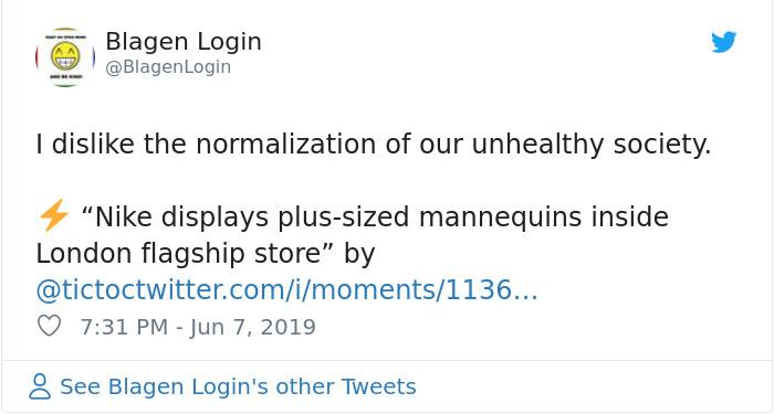 blagen login nike plus size mannequin reactions