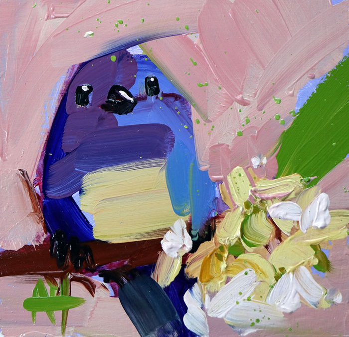 blue against light pink oil paintings bird art Angela Moulton