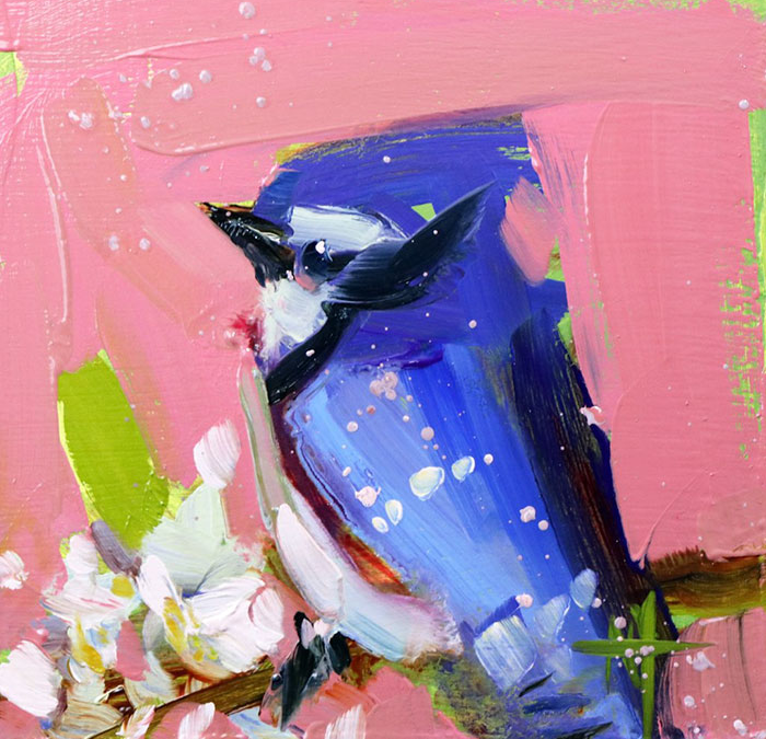 blue against peach oil paintings bird art Angela Moulton