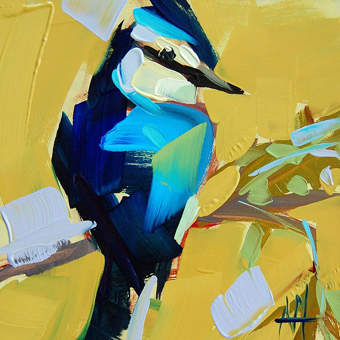 blue against yellow oil paintings bird art Angela Moulton
